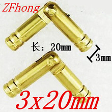 50PCS 3 x 20mm 3mm Brass Barrel Hinge Round Cylindrical Hidden Cabinet Hinges Concealed Invisible Mortise Mount Hinge