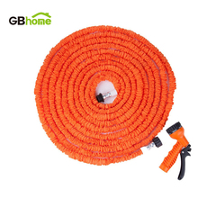 Extensible Magic flexible Garden water Hose for Drip irrigation Car Watering with Spray Gun Orange 25FT 50FT 75FT 100FT 125FT