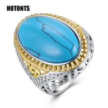 R025 Retro Style Men's Women's Oval Natural Turquoises Rings 26mm Wide Large Antiques Rings Gold Color Natural Stone Rings