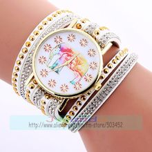 100pcs/lot flower dial elephant no logo leather watch elegance lady wrap around watch with full crystal double crystal wholesale(China)