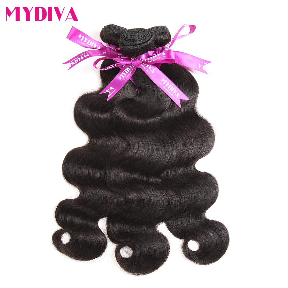 Mydiva Brazilian Body Wave Hair Bundles 100% Human Hair Weaves Extensions 100g/pcs 8-28 Inch Natural Black Non Remy(China (Mainland))