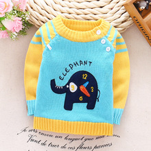 Autumn Winter children's sweater baby boys shoulder buckle sets of line clothing cartoon sweater jacket infant newborn clothes(China)