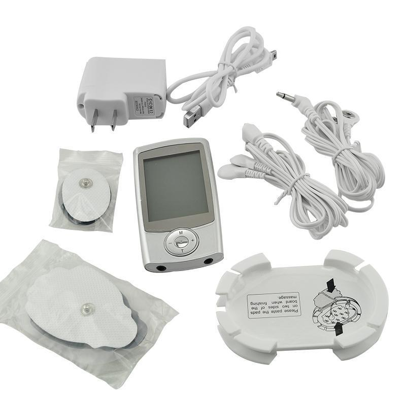 Mini Electric Massager Digital Pulse Therapy Muscle Full Body Massager Silver<br>