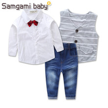 SAMGAMI BABY New Design Baby New Year Dress Baby Boys Romper Gentleman Modelling Infant Long Sleeve T-shirt+vest+jeans Clothes(China)