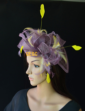 NEW Lavender purple yellow  sinamay fascinator hat formal hat  for Tea Garden party Royal Races Kentucky derby.FREE SHIPPING