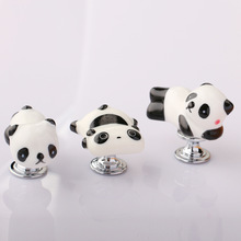Lovely Cartoon Panda Shape Cabinet Door Knobs, Kids room furniture Drawer Dresser Ceramic Knob Pulls Handle