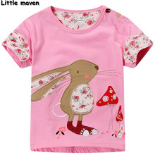 Little maven kids brand clothing 2017 new summer fashion baby girls clothes Cotton rabbit pink t shirt brand tee tops T059