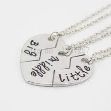 "2015New style broken heart 3 parts pendant necklace Sister Necklace Matching ""Big middle Little ""Sister Necklace Gift For Family"