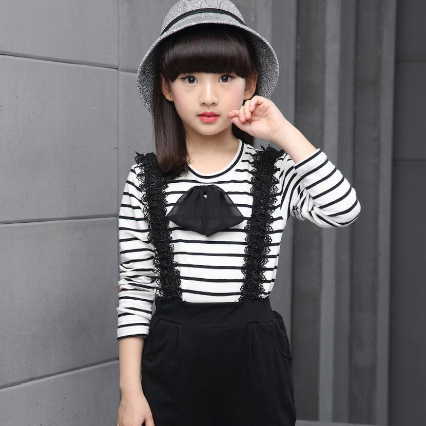 new 2017 teenage girls clothes kids clothing set long sleeve black and white striped shirt lace belt black pants girls trousers<br>
