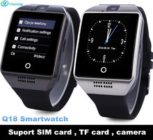 DHL 20pcs/lot NFC Smart Watch Q18 With Camera FM Facebook SMS MP3 Bluetooth Smartwatch Support Sim Card For IOS Android Phone