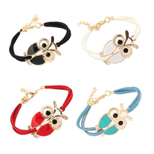 New Hot. Minimum. 1 PCS. New female retro jewelry owl animal imitation leather bracelet for Christmas New Year gift
