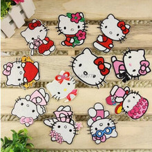 Free Shipping Mix Style 10pcs Hello Kitty Iron On Patches Embroidery Patches For Clothing Cartoon Appliques High Quality A045