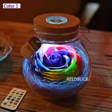 Creative Romantic RGB LED Dimmer Light 16 Colors Rose Flower Wish Bottle Lamp Holiday Gift For Friend Wife Portable Led Lights