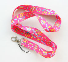 Free shipping 10pcs peace logo lanyards mobile phone neck key chain straps accessory H-16(China)