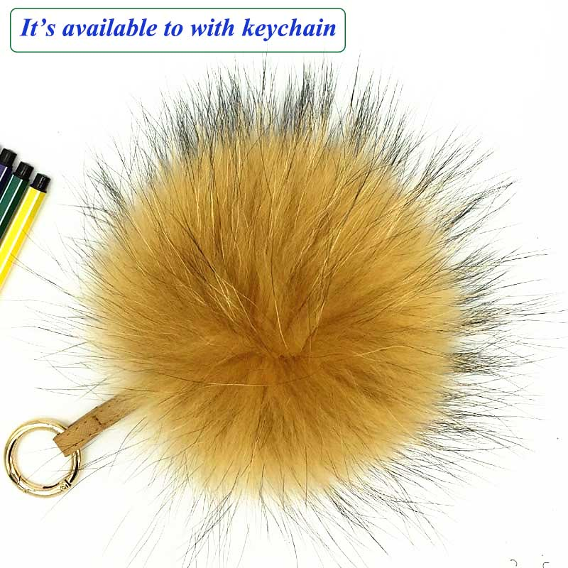 raccoon fur pompom gold 2