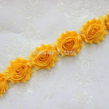 1 Yard yellow gold Chiffon Flower Shabby flower Trim rose flower trim for hai flower headband clothes