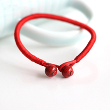 New 2Pcs/bag Fashion Lucky Bracelets Red String Ceramic Bead bracelets & bangles Handmade Accessories Lovers Lucky Jewelry Hot(China)