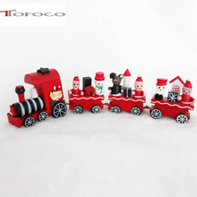 New Cute Charming 4 Piece Wooden Christmas Santa Tree Train Ornament Gift Good Model Toy For Children