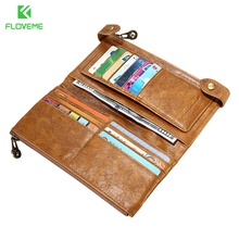 FLOVEME Retro Wallet Case for Samsung S7 S6 Edge S5 J5 J7 A5 Note 4 5 Luxury Real Leather Case Zipper Purse Card Slot Retro Bags(China)