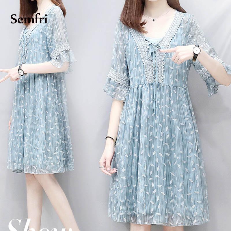Semfri Blue Printed Chiffon Dress Women Summer Sexy V Neck Short Sleeve Dress Plus Size 5xl Ladies Sweet Clothes Streetwear 2019 8 Online shopping Bangladesh