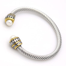 Fashion Women Twisted Wrap Bangles Silver Gold Stainless Steel Open White Pearls Clasp Cuff Wire Bracelets Pulseras Jewelry