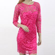 Clearance Products Ladies Mini Lace Dresses Summer Sexy Rose 3/4 Sleeve Hollow Out Round Neck Short Women Dress