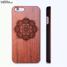 Monila Retro Flower Pattern Real Handmade Wood Case For Iphone 5 5s SE 6 6s 6 plus Wood Carving Case + PC ,free shipping(China)