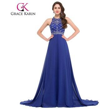 Grace karin vestido de noche largo de la gasa azul real vestidos de fiesta formal vestido festa backless grano de la cena vestido de la ocasión especial