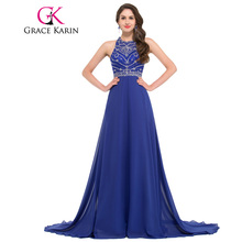 Grace Karin Evening Dress Long Chiffon Royal Blue Formal Party Gowns Vestido Festa Backless Bead Dinner Special Occasion Dress(China)