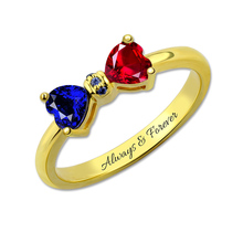 Wholesale Personalized Engraved Birthstones Bow Ring Lovely Gold Color Ring Fashion Jewelry for Women