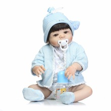"22"" full body silicone reborn dolls girl boy fake baby dolls reborn best child play house toys gift bonecas reborn brinquedos(China)"