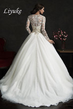 Beautiful Bridal V-Neck Long Sleeves Beaded Crystaled Appliqued Tulle Wedding Dresses Bridal Dress Court Train