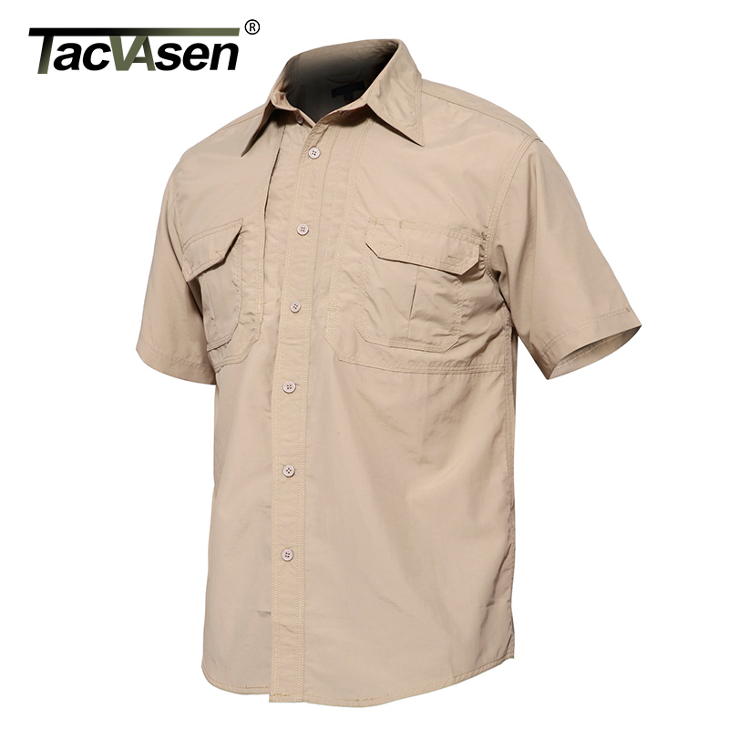 TACVASEN Brand Tactical Quick Drying Shirt Breathable Camp Men's Casual Short Sleeve Shirt Men Combat Military Shirt TD-JNE-002