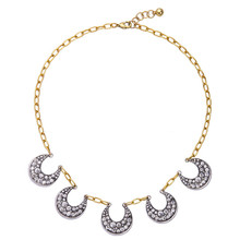 Western Style New Fashion Charm Necklace Women Jewelry Accessories Crystal Moon Necklace Pendant Choker Necklace(China)