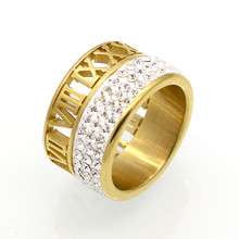 Best Gift Roman Number Brand Jewelry 12mm Width 3 Row Crystal Rings For Women Hollow Out Gold Stainless Steel Rings