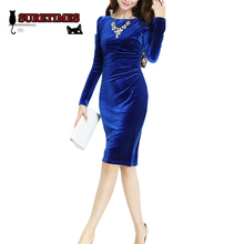 Knee Length Full Sleeve Elegant Beautiful Casual Cold Business Working wear Dresses European brand new Women Blue Velvet Dress