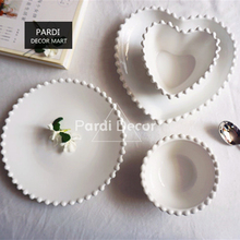Hot sale simple style white color pearl shape plate bowl heart shape dessert plate soup bowls tableware 1pc/lot(China)