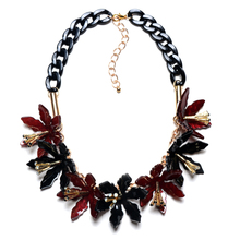 Collares 2016Necklace Pendant Famous Brand Jewelry Resin Choker Black Chain Flower Shourouk Statement Necklace Perfume Women(China)