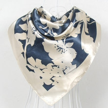2015 Fashion Brand Women Beige Polyester Silk Scarf Shawl New Style Big Square Ladies Satin Scarf Printed Silk Wraps 90*90cm