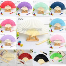30pcs* Personalized Ladies Bamboo & Raw Silk Fan Hollow Out Hand Folding Fans Outdoor Dancing Wedding Party Favor(China)