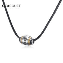 Meaeguet Men Necklace Taoism 9 Character Mantra Pendant Stainless Steel Cool Jewelry With PU Leather Rope Chain