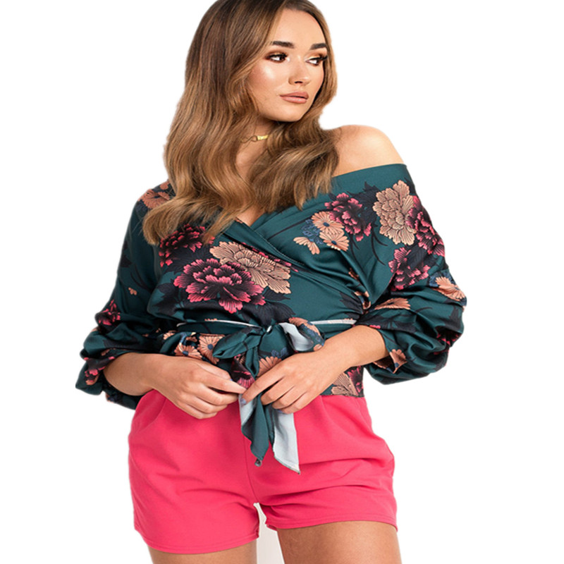 LOSSKY Women V-Neck Sexy Boho Blouse Print Floral Bandages Long Sleeve Blouse Bohemia Ladies Top Shirts Blouses Summer 2018 9