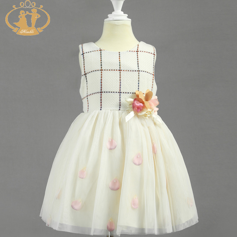 Nimble Girls clothes Sleeveveless Ball Gown Flowers Champagne Royal blue Knee-length O-neck Princess Wedding clothes moana <br>