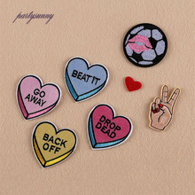 PF 7pcs/lot Heart Footbal Patches for Costume Sewing Ironing Embroidery Finger Patch Handmade Sticker Badges for Clothing TB008