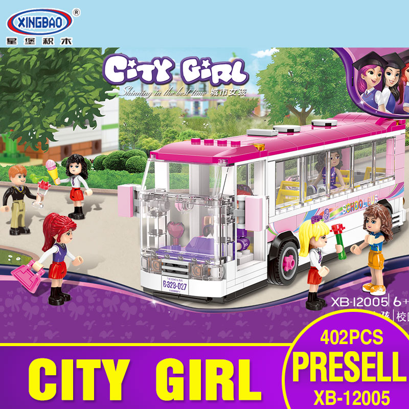 XingBao Models Building Toy X12005 402Pcs School Bus Blocks Model Building Kits For Boys Girls children Classic Toys Hobbies<br>