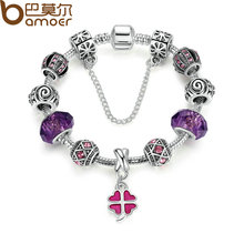 BAMOER Safety Chain Silver Color Charms Bracelet with Purple Glass Beads & Pink Clover DIY Bracelet for Women Jewelry PA1498(China)