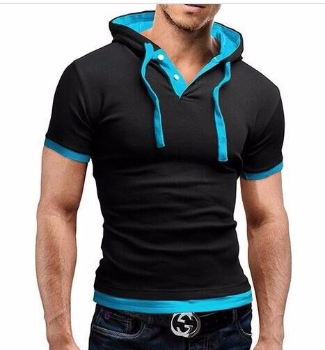 HTB1Iuh0LVXXXXcDXXXXq6xXFXXXZ - Men'S T Shirt 2017 Summer Fashion Hooded Sling Short-Sleeved Tees Male Camisa Masculina T-Shirt Slim Male Tops 4XL
