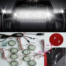 Homeyard 1set/pcs  8pcs point light LED RV Awning Roof Lights tailgate led strip 72 white color Truck Bed Light for pickup