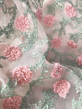One Yard Exquisite Shabby Chic Rosette Lace Fabric in Pink Green Leaf , Champagne Netting Fabric Lace for Bridal Dress Gown(China)