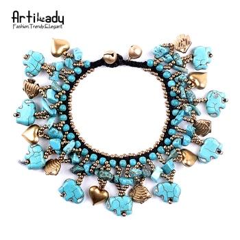 Artilady naturel turquoise gland bracelet bracelets de mode multicolore petit cloches bracelet pour femmes boho bijoux